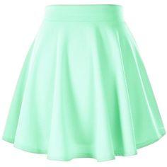 Women's Basic Solid Versatile Stretchy Flared Casual Mini Skater Skirt ($8.55) ❤ liked on Polyvore featuring skirts, mini skirts, bottoms, green skater skirt, flare skirt, mini circle skirt, mini skirt and stretch skirt