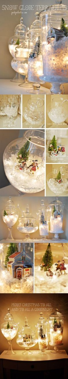 Ideas Original to decorate your table this season Snow Globe Terrariums - Snow glow! Ideas Original to decorate your table this season Merry Christmas To All, Noel Christmas, Winter Christmas, All Things Christmas, Christmas Ornaments, Christmas Pictures, Rustic Christmas, Christmas Globes, Christmas Displays