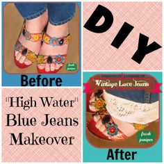 Vintage Lace Trim Jeans Tutorial - One Hour DIY Boutique Jeans - so cute and easy - perfect for plain or 'too short' jeans