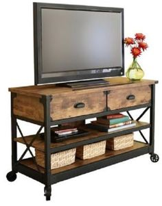 Rustic-Wood-Console-Table-52-TV-Stan-Industrial-Metal-Casters-Storage-Sofa