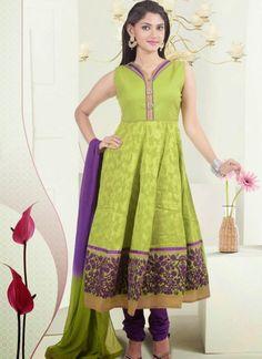 Glamorous Green Cotton Stitched Anarkali Suit