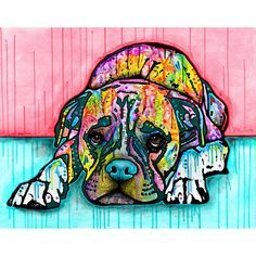 Lying Boxer Dog Wall Sticker Decal Animal Pop Art by Dean Russo