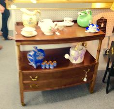 New items in our booth at Ontario Antiques Mall Rochester Wood tea cart