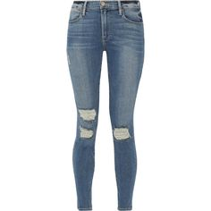 FRAME Le High Skinny distressed jeans (795 BRL) ❤ liked on Polyvore featuring jeans, pants, bottoms, calça, high waisted ripped jeans, super skinny jeans, blue jeans, distressed jeans and high-waisted skinny jeans