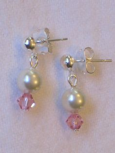 Flowergirl earrings with Swarovski Pearls and Crystals. Hand made with many crystal color options!