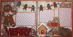 Gingerbread cookies Christmas Layout, Christmas Scrapbook Layouts, Disney Scrapbook, Baby Scrapbook, Scrapbook Paper Crafts, Christmas Photos, Christmas Crafts, Scrapbook Templates, Scrapbook Sketches