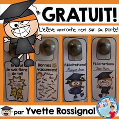 """French End of the year """"Door Hangers"""" (Gratuit, Fin de l'année scolaire) End Of The Year Celebration, Communication Orale, Reading Recovery, Grande Section, French Resources, End Of School Year, French Immersion, French Teacher, French Lessons"""