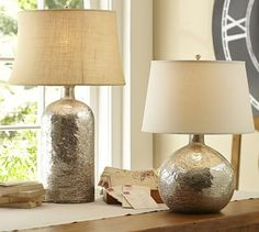 "Antique Mercury Glass Table Lamp Bases #potterybarn Round Table Lamp: 10"" diameter, 19.5"" high"