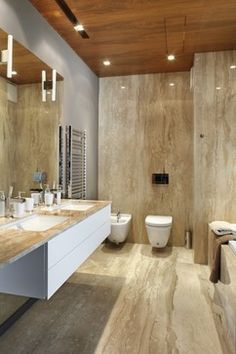 Contemporary Bathroom Large Marble Tile In Bath Design, Pictures, Remodel, Decor and Ideas - page 5