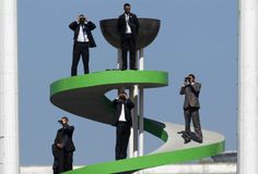 Security guards keep watch during the Algeria Cup final soccer match between CR Belcourt and Entente Setif in Algiers, May 1.