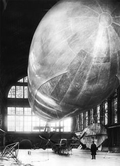 """""""Dirigible """"hawk"""" in the balloon shed…1910"""" (via)"""