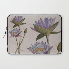 """""""Lotus flowers"""" Laptop Sleeve by Savousepate on Society6 #laptopsleeve #lotusflowers #watercolor #painting"""