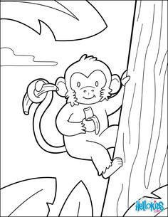 Find free coloring pages, color poster and pictures in JUNGLE ANIMALS coloring pages! Print out and color these free coloring sheets and send them to your friends! This Monkey coloring page is the most beautiful among all coloring sheets. Bug Coloring Pages, Zoo Animal Coloring Pages, Monkey Coloring Pages, Birthday Coloring Pages, Preschool Coloring Pages, Coloring For Kids, Jungle Crafts, Vbs Crafts, Free Printable Coloring Sheets