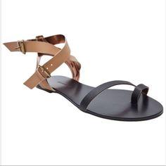 f22615ce0d56 CYNTHIA VINCENT~ Black and Tan Toe Loop Sandals~8