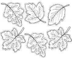 Free Printable Leaves sheet for embroidery, applique, coloring, felt crafts, etc. Wool Applique, Applique Patterns, Quilt Patterns, Leaf Patterns, Embroidery Stitches, Hand Embroidery, Embroidery Designs, Pach Aplique, Coloring Books