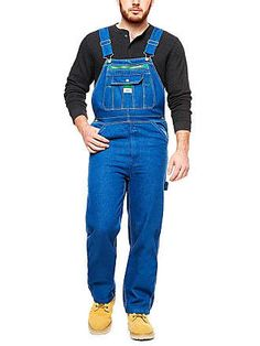 Walls Liberty® Denim Bib Overall Overalls Outfit, Bib Overalls, Dungarees, Sports Footwear, Sports Shoes, Green Accents, Running Shoes For Men, Work Wear, Mens Fashion