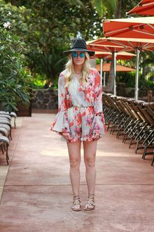 0c6b9475497c A fashion look by KatalinaGirl featuring Ruby   Jenna Cross Front Floral  Romper