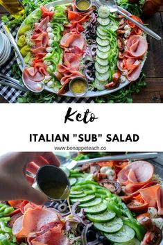 Keto Italian Sub Salad Italian Sub sandwich without all the carbs! This antipasto style salad helps all those sandwich cravings you get on a low carb diet and the family will love it too! Easy to make for lunch, dinner, and for meal prep! Healthy Recipes, Low Carb Recipes, Diet Recipes, Recipes For Lunch, Dessert Recipes, Radish Recipes, Healthy Soup, Healthy Foods, Soup Recipes