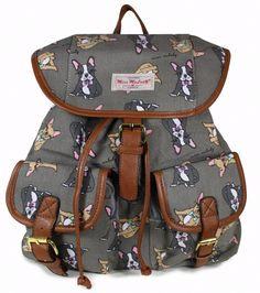A grey backpack rucksack with a French Bulldog print The bag fastens with a drawstring and a flap over with a magnetic stud external pockets to the
