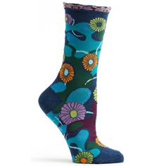 Camouflage backdrop aside, it's hard to blend in when you don these floral socks.