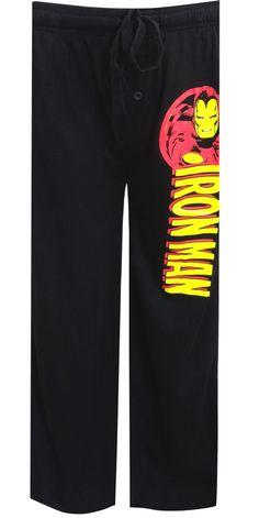 WebUndies.com Marvel Comics Iron Man Black Lounge Pants