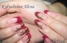 Nagelsticker im Gold AleNail Red Wine Modellage