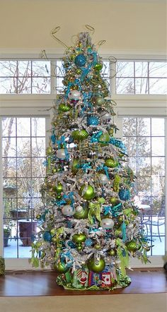 Turquoise and green Christmas tree