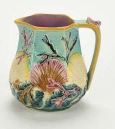 """Wedgwood Majolica Shell, Ocean Pattern Creamer. 4.75""""H"""