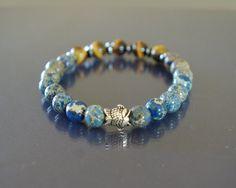 Sterling silver fish bracelet Men beaded bracelet by EmpathyGifts, $31.90
