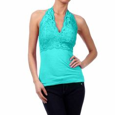 Turquoise Blue Gorgeous Lace Bust Cami Halter Top