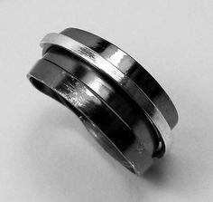 handmade in Greece Black wrap ring, Stackable black ring, Black stack ring, Greek Jewelry, Black silver wrap ring, Greek ring, wide wrap ring made in Greece