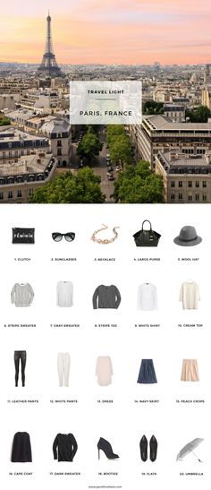 What to pack for Paris, France in the Fall. 20 items, 10+ days/outfits, 1 carry on suitcase. #travellight #packingtips #traveltips