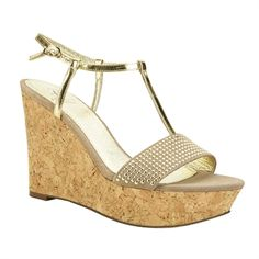 Adrianna Papell Metallic Studded Cork Wedge