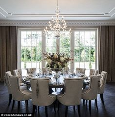Kennedy round dining suite with Alice chairs. Modern dining room with round dining table, gray Round Dining Room Sets, Family Dining Rooms, Dining Room Table Decor, Dining Table Design, Round Dining Table, Dining Room Furniture, Small Dining, Large Dining Rooms, Furniture Ideas