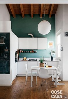 Space-saving solutions in the attic on two levels - Cose di Casa - - Small Modern Kitchens, Home Kitchens, Casa Loft, Best House Plans, Kitchenette, Ikea Kitchen, Little Houses, Interior Design Kitchen, Living Room Decor