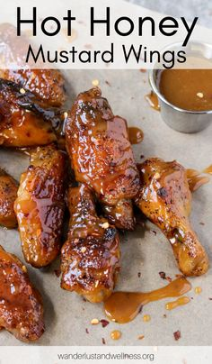 You get the best of both worlds with these sweet + spicy Hot Honey Mustard Wings. A homemade honey mustard sauce with a kick of heat. Plus, you'll find instructions for air fried, oven-baked, and oil fried wings. Honey Mustard Chicken Wings, Teriyaki Chicken Wings, Honey Mustard Sauce, Honey Wings, Spicy Wings, Fried Chicken Wings, Chicken Fajitas, Hot Wing Sauces, Chicken Wing Sauces
