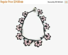 Crohet flower Necklace in pink  and black - Knitted Summer Necklace   This elegant, unique  and delicate flower necklace is hand crocheted with Turkish oya thread .   So li... #etsy