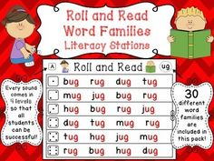 Word Families Roll and Read literacy centers: 120 differentiated Roll and Read Word Families Literacy Stations to practice reading word families! Reading Words, Reading Fluency, Reading Strategies, Reading Response, Reading Intervention, Reading Skills, Word Family Activities, Reading Activities, Literacy Activities