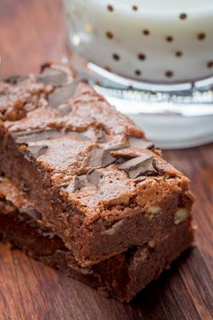 Step Away, Starbucks Brownies! - you've got nothing on this Double Chocolate Brownie that's fudgy, yet light with a sprinkle of walnuts to balance out the flavors. by Let the Baking Begin!