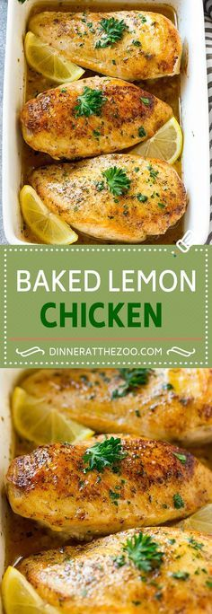Baked Lemon Chicken ~ these baked lemon chicken breasts come out juicy and delicious every time, and the delicious sauce will have you licking your plate!