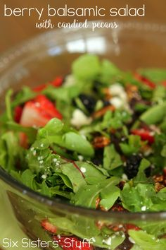 Berry Balsamic Salad with Candied Pecans - this dressing sounds good!