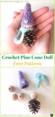 Crochet Pine Cone Doll Ornament Free Pattern - Crochet Christmas Ornament Free Patterns