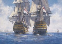"""""""""""Victory"""" races """"Temeraire"""" for the enemy line, Trafalgar, October - Geoff Hunt - tall ships Hms Temeraire, Old Sailing Ships, Sailing Boat, Hms Victory, Ship Of The Line, Man Of War, Ship Paintings, Naval History, Wooden Ship"""