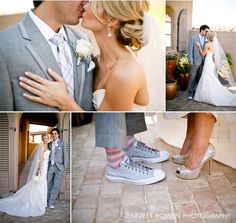 Arizona spring wedding at DC Ranch with vintage details, soft pink, chuck taylors & gray suits. Photo by Jennifer Bowen.