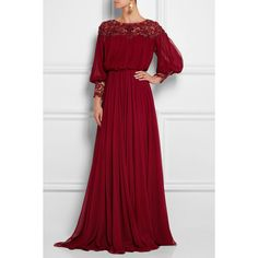 Marchesa Embellished silk-chiffon gown featuring polyvore, women's fashion, clothing, dresses, gowns, gown, marchesa dresses, marchesa, silk chiffon gown, marchesa gowns and red evening gowns