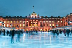 The skating rink at London's majestic Somerset House overlooks the Thames River