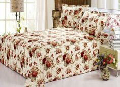 Deep Red Florals Printed Cotton Sheet