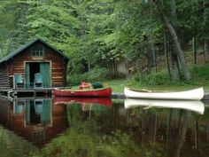 lake houses, cottag, wood, dream, log cabins, lakes, boat, place, canoes