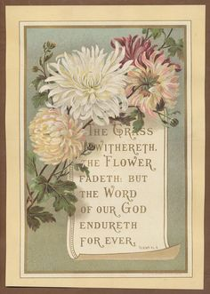Isaiah 40:8...C4245 Good V Large Victorian Religious Card Scripture | eBay