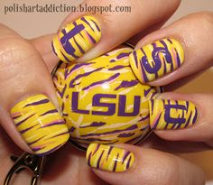 Polish Art Addiction: LSU Tutorial I would do this but with cl instead of lsu! Colorful Nail Designs, Nail Art Designs, Hair And Nails, My Nails, Football Nails, Football Baby, Tiger Nails, Art Addiction, Lsu Tigers